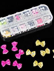 60pcs 12 projeto resina acrílica bowtie arte decoração de unhas