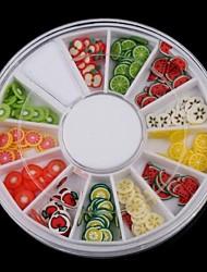 12-цвет фрукты дизайн полимер Nail Art Decoration