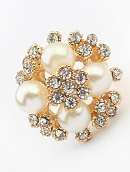 Women's Elegant Pearls Beaded Rhinestone Pave Florals Statement Ring
