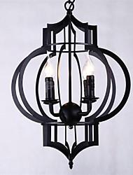 fer lumière pendante quatre feux style campagnard forgé