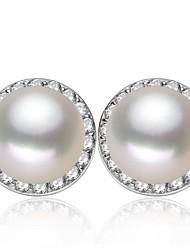 Stud Earrings Women's Silver/Pearl Earring Rhinestone