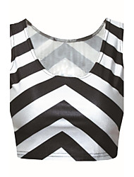 Women's Striped Vest , U Neck Sleeveless