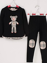 Boy's And Girl's Bear Plaid Suit Clothing Sets
