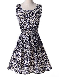 Women's Casual/Daily Skater Dress,Print Round Neck Above Knee Sleeveless Polyester Summer / Fall
