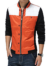 Men's Long Sleeve Casual Jacket,Cotton Solid Blue / Orange