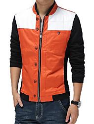 Herren Jacke Einfarbig Freizeit Baumwolle Lang-Blau / Orange