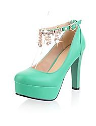 bombas de la plataforma zapatos ronda toe tacón grueso de la mujer con hebilla de zapatos más colores disponibles