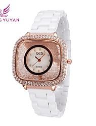 mujeres de la marca de lujo gedi® relojes moda cerámica blanco rhinestone banda cuarzo rosa de oro relojes (colores surtidos)