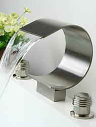 Widespread Two Handles Three Holes in Nickel Brushed Bathroom Sink Faucet