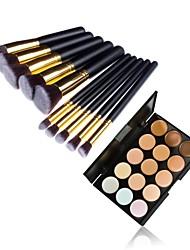 10pcs Goldrohr schwarzen Griff Kosmetik Pinsel-Set und 15 Farben Concealer