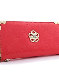 Women Fashion Flower PU Leather Handbag Long Wallet