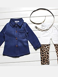 Girl's Solid Clothing Set,Cotton Blend Winter / Spring / Fall Blue