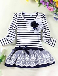 Girl's Fashion Stripe Flower Party Princess Cute Dresses