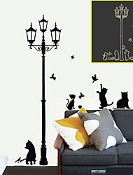 Wall Stickers Wall Decals, Cartoon Popular Luminous Lamp Cats PVC Wall Stickers