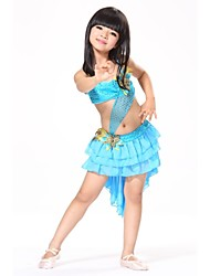 Latin Dance Outfits Children's Performance / Training Chiffon / Sequined / Feathers Feathers /Fur / Pattern/Print / Sequins Sleeveless