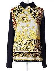 Women's Formal Simple Spring / Summer Blouse,Print Long Sleeve Thin
