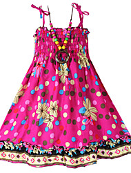 Girl's Dress+Necklace Dot Tank Fashion Bohemia Beach Kids Clothing