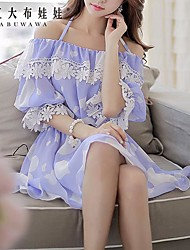 Pink Doll® Women's Off the Shoulder Printing Lace Chiffon Dress