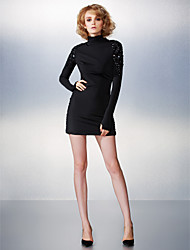 TS Couture Cocktail Party Dress - Sexy Sheath / Column High Neck Short / Mini Jersey with Beading