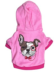 Cat / Dog Hoodie Blue / Pink Dog Clothes Winter Letter & Number