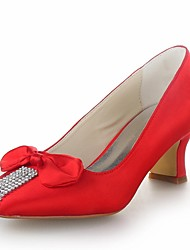 Women's Shoes Heels Square Toe Kitten Heel Satin Pumps with Crystal Wedding Shoes More Colors available