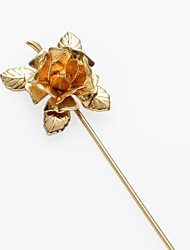 feuilles d'or ont augmenté de costume de mariage corsage épinglette bâton Broche