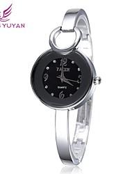 Women's Round Dial Alloy Band Gold Quartz Wristwatch