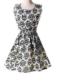 элегантный синий и белый фарфор талией платье женская