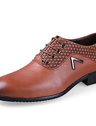 Men's Spring Summer Fall Comfort Leather Casual Low Heel Lace-up Black Brown