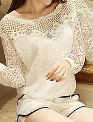 manga longa gola redonda de forma magro t-shirt chiffon fantasia das mulheres