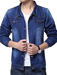 Men's Pure Long Sleeve Jacket , Denim/Polyester Casual/Plus Sizes