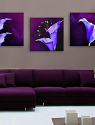 e-FOYER fleurs violettes horloge dans 3pcs toile
