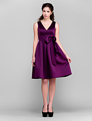 Lanting Knee-length Satin Bridesmaid Dress - Grape Plus Sizes / Petite A-line / Princess V-neck