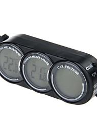 T107 esterno dell'interno monitor di tensione termometro veicolo auto (nero)