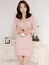 Women's Formal Sexy Bodycon Dress,Solid V Neck / Surplice Neck Above Knee Long Sleeve Pink / Red / White / Black Cotton Fall / Winter