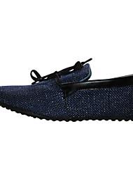 Zapatos de Hombre Casual Lino Mocasines Negro/Beige/Azul Marino