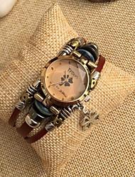 Women's High-grade Clover Dial Leather Band Quartz Movement Bracelet Watches