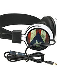wzs- casque stéréo salut-fi ergonomique avec microphone micro -Puerto drapeau rico - noir