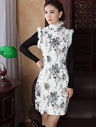 millésime fourrure de lapin de style chinois mince mini-robe des femmes