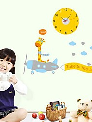 Wall Clock Stickers Wall Decals, Cartoon Deer and Battery Feature Removable  PVC Wall Stickers