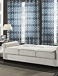 Neoclassical One Panel Geometric Blue Bedroom Polyester Panel Curtains Drapes