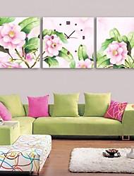 e-home® flores cor de rosa relógio em lona 3pcs