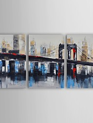 Oil Painting Modern Abstract Bridge to Downtown Set of 3 Hand Painted Canvas with Stretched Frame