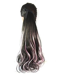 18 pulgadas mujeres largas colas de caballo negro de cola de caballo de color rosa gradiente ondulado pera