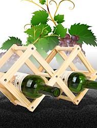 elegante schaalbare en vouwen geplaatst 3 fles wijn houten wijnrek