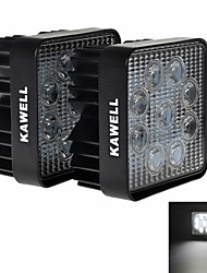 "KAWELL 2 Pack 4.5"" 27W Square Thick Type LED for ATV/boat/suv/truck/car/atvs light Off Road Led Flood Work Light"