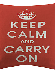 """TWOPAGES® Red """"Keep Calm And Carry On"""" Cotton/Linen Printed Decorative Pillow Cover"""