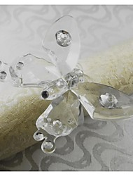 Buterfly Crystal Napkin Ring, Acrylic, 1.77Inch, Set of 12