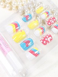12 Pcs  The Cartoon Pattern  Design Nail Art Tips With Glue