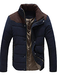 Men's  New Plain Patchwork Leisure  Hood Cotton Jacket